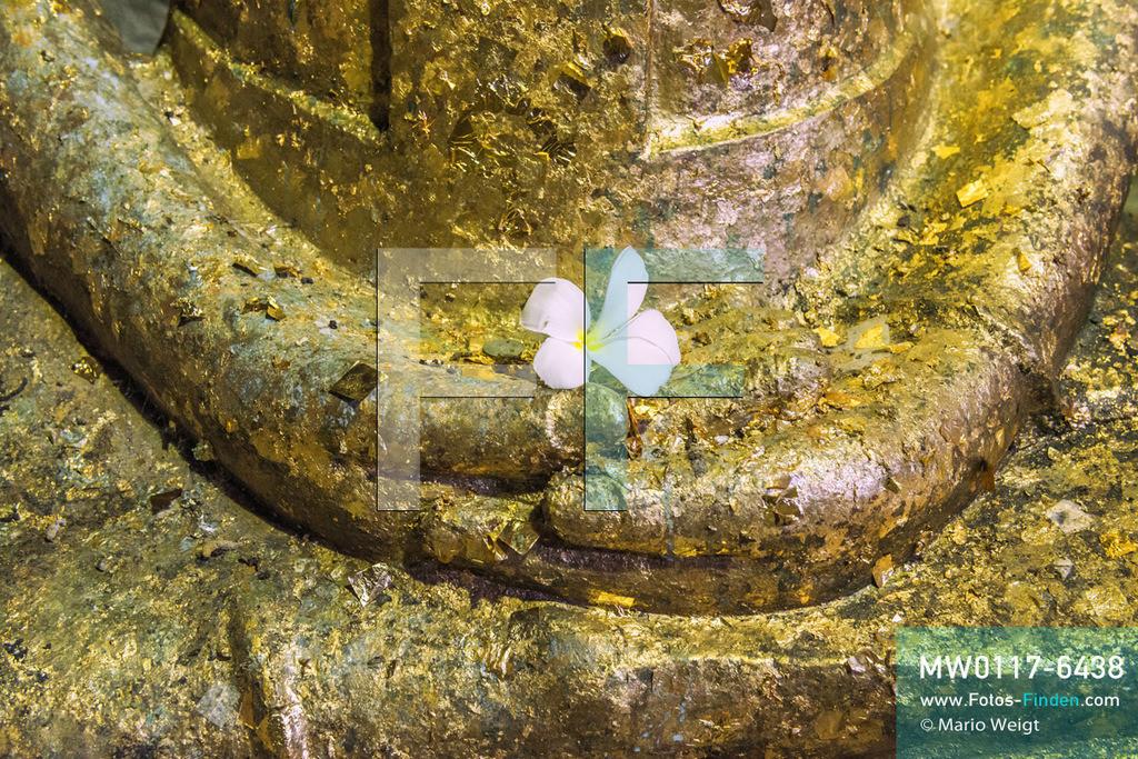 MW0117-6438 | Thailand | Meditative Fotos | Buddha-Statue mit einer Frangipani-Blüte   ** Feindaten bitte anfragen bei Mario Weigt Photography, info@asia-stories.com **