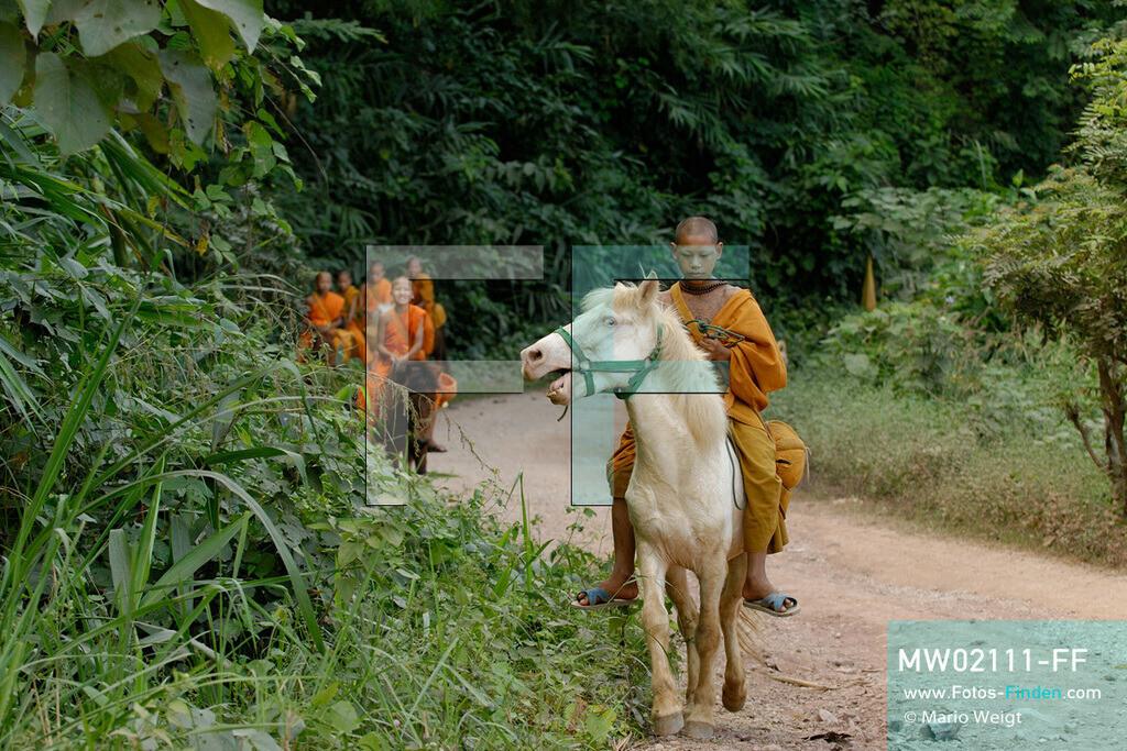MW02111-FF | Thailand | Goldenes Dreieck | Reportage: Buddhas Ranch im Dschungel | Der junge Mönch Pansaen auf seinem Pferd Phet Thewada.  ** Feindaten bitte anfragen bei Mario Weigt Photography, info@asia-stories.com **