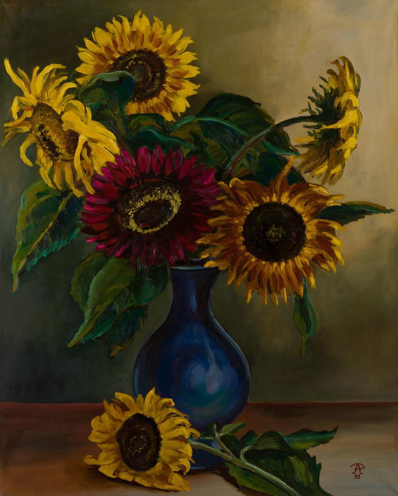 Stillleben mit Sonnenblumen | Originalformat: 75x60cm  -  Produktionsjahr: 1999