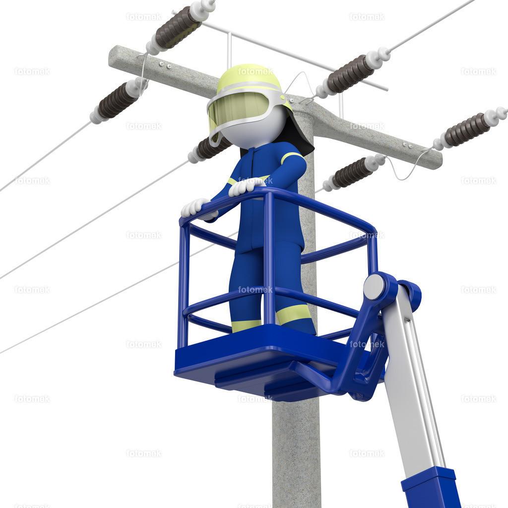 3d Männchen THW Stromausfall   3d Männchen vom technischen Hilfswerk am Strommasten um zu kontrollieren warum der Strom ausgefallen ist.