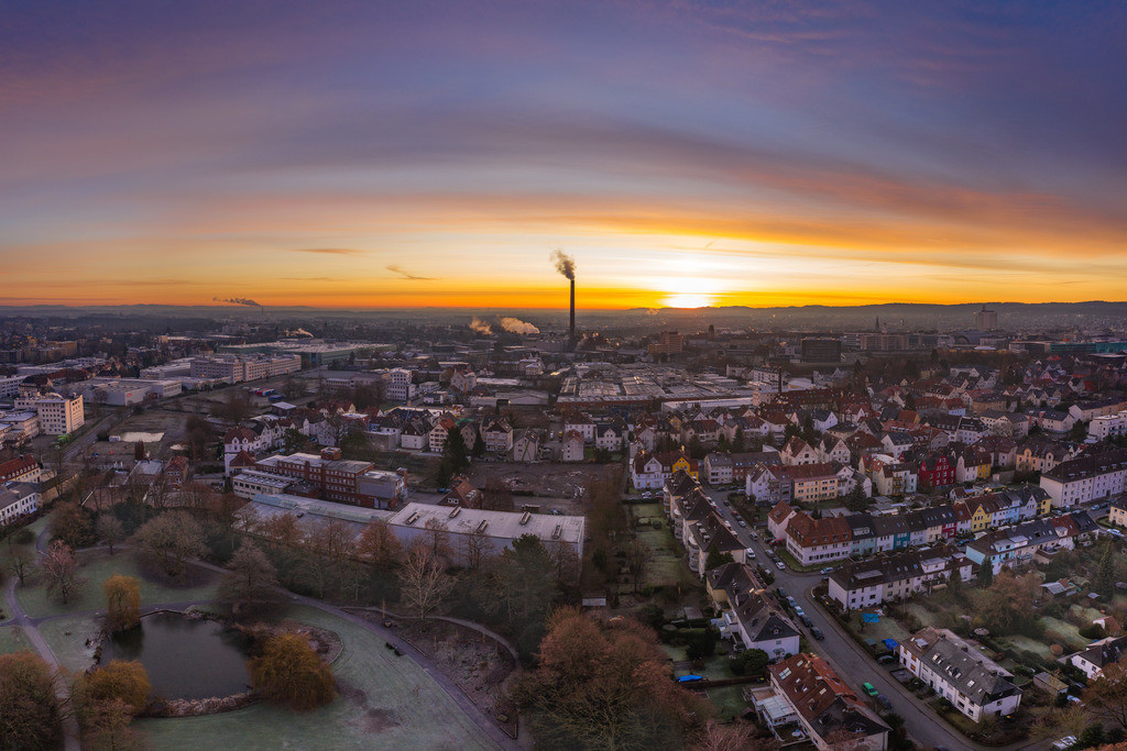 Sonnenaufgang im Winter | Sonnenaufgang über Bielefeld im Januar.