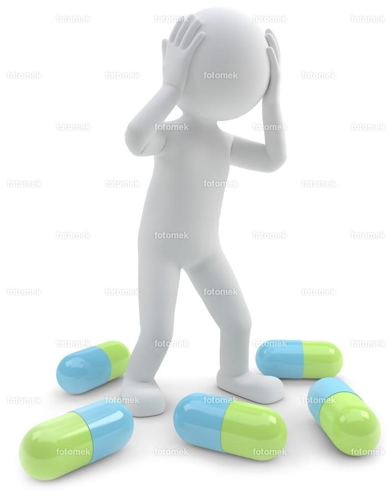3D Männchen Medikamente Kopfweh | weisse 3D Männchen von Fotomek
