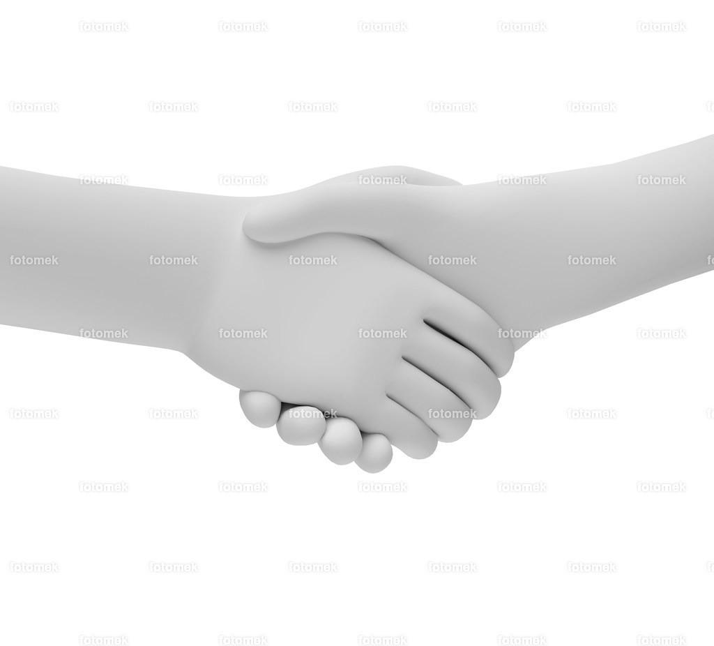 nur ein Handschlag   weisse 3D Männchen von Fotomek