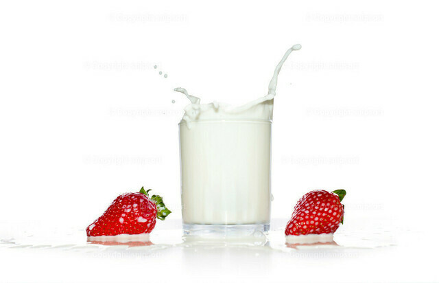 Weiße Milchspritzer mit roten Erdbeeren | Eingefrorene Aufnahme einer Erdbeere beim Eintritt in ein Glas Milch