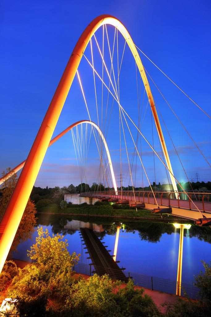 JT-090518-007 | Doppelbogenbrücke über den Rhein-Herne-Kanal, am Nordsternpark, ehemalige Zeche Nordstern, Gelsenkirchen,