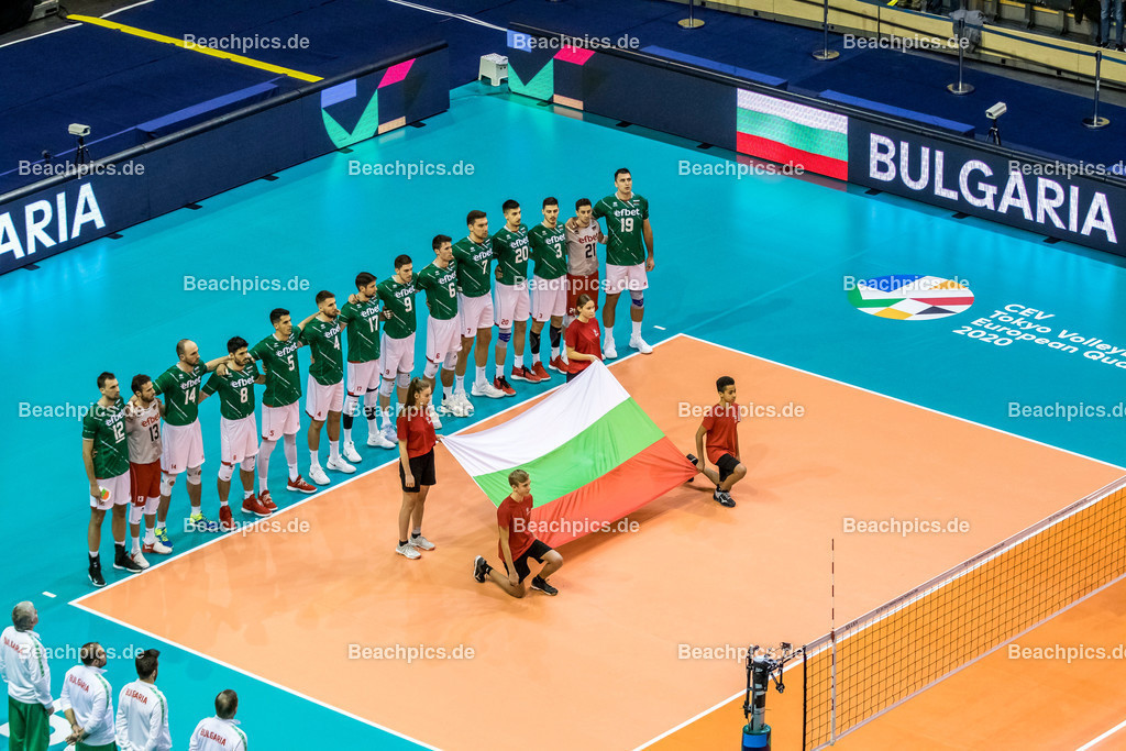 2020-00057069-CEV-European-Olympic-Qualification-Tokyo-2020 | Nationalhymne Mannschaft Bulgarien; 06.01.2020; Berlin, ; Foto: Gerold Rebsch - www.beachpics.de