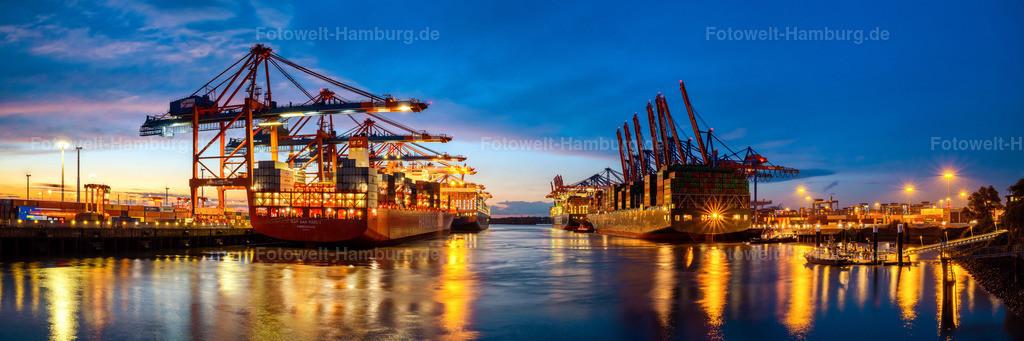 10201103 - Panorama am Waltershofer Hafen   Panorama am Waltershofer Hafen zur blauen Stunde,