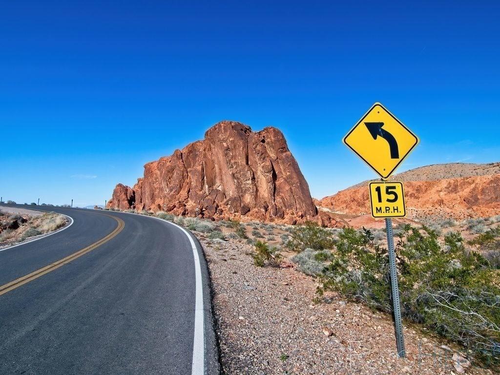 Steht im Weg | Strasse im Valley of Fire State Park, Nevada USA