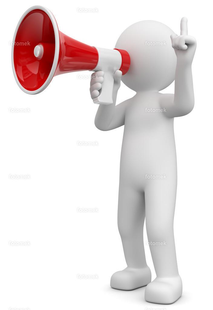 3d Männchen mit Megaphone Info - Aktion- Aufruf | 3d Männchen mit Megaphone informiert über Neues.