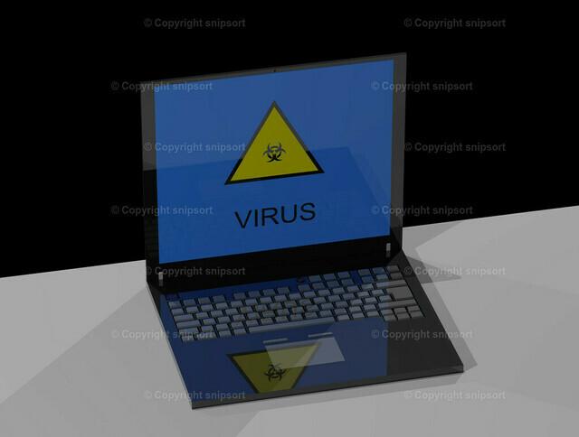 Laptop mit Meldung Virus | Ein Notebook auf dem Tisch mit der Meldung