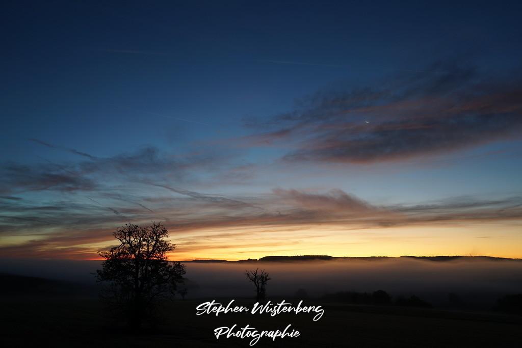 Morgendämmerung über Nebel | Morgendämmerung über Nebel bei Leithöfe