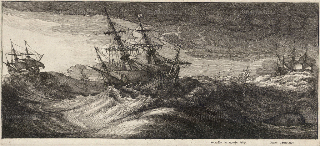 Wenceslas_Hollar_-_Warships_and_a_spouting_whale_(State_2)