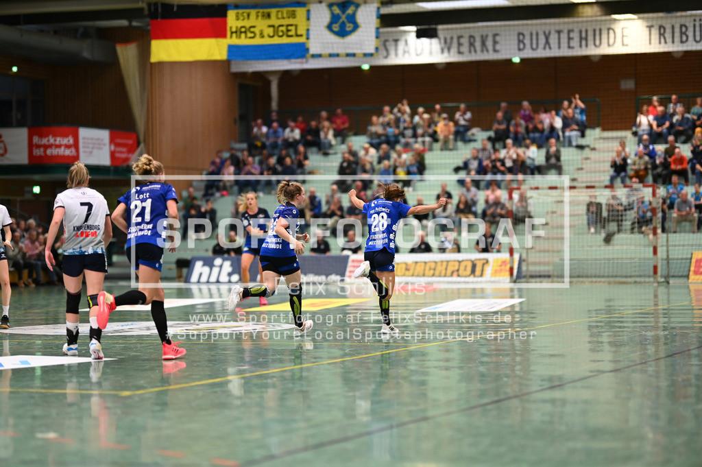 FZ6_9586 | Jubel von Teresa von Prittwitz (#28, Buxtehuder Sportverein); 1. Handball-Bundesliga Frauen I 1. Spieltag I Buxtehuder SV - Neckarsulmer Sport-Union am 05.09.2020 in Buxtehude  (Sporthalle Kurt-Schuhmacher Strasse), Deutschland