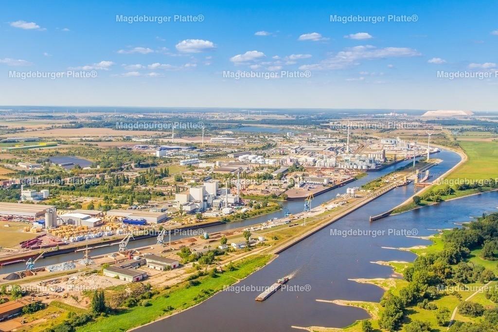 Luftbild Magdeburg Industriegebiet Rothensee mit Hafen-4880