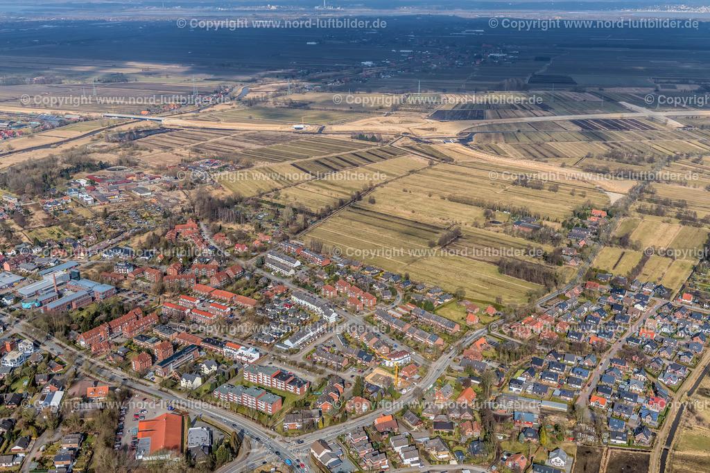 Buxtehude A20 Autobahnabfahrt Rübke_ELS_7428090318 | Buxtehude - Aufnahmedatum: 09.03.2018, Aufnahmehöhe: 361 m, Koordinaten: N53°28.129' - E9°42.956', Bildgröße: 8064 x  5376 Pixel - Copyright 2018 by Martin Elsen, Kontakt: Tel.: +49 157 74581206, E-Mail: info@schoenes-foto.de  Schlagwörter:Niedersachsen,Luftbild, Luftbilder, Deutschland