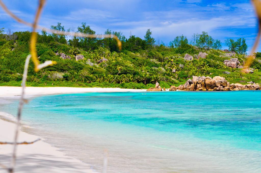 Anse Cocos - Seychellen - La Digue | Blick auf die einsame Bucht mit weißem Sand