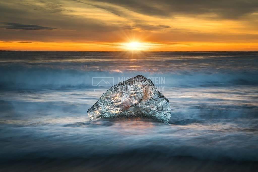 Island - Eis in der Brandung | Eis in der Brandung bei Sonnenaufgang am Black Diamond Beach