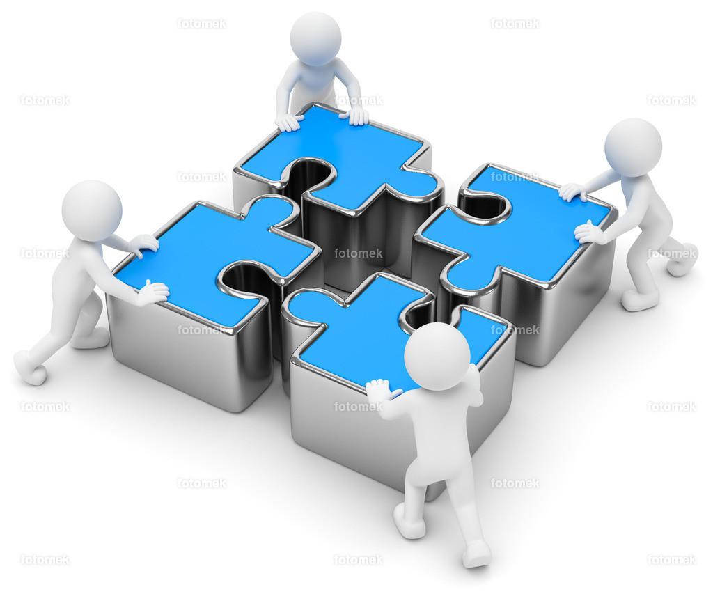 3d Männchen blaue Puzzleteile Teamwork