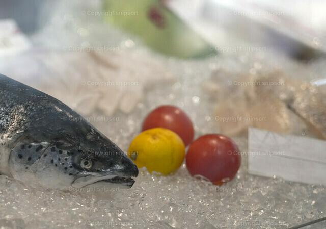 Fischtheke | Ein Fisch mit Dekoration auf Trockeneis hinter der Theke.