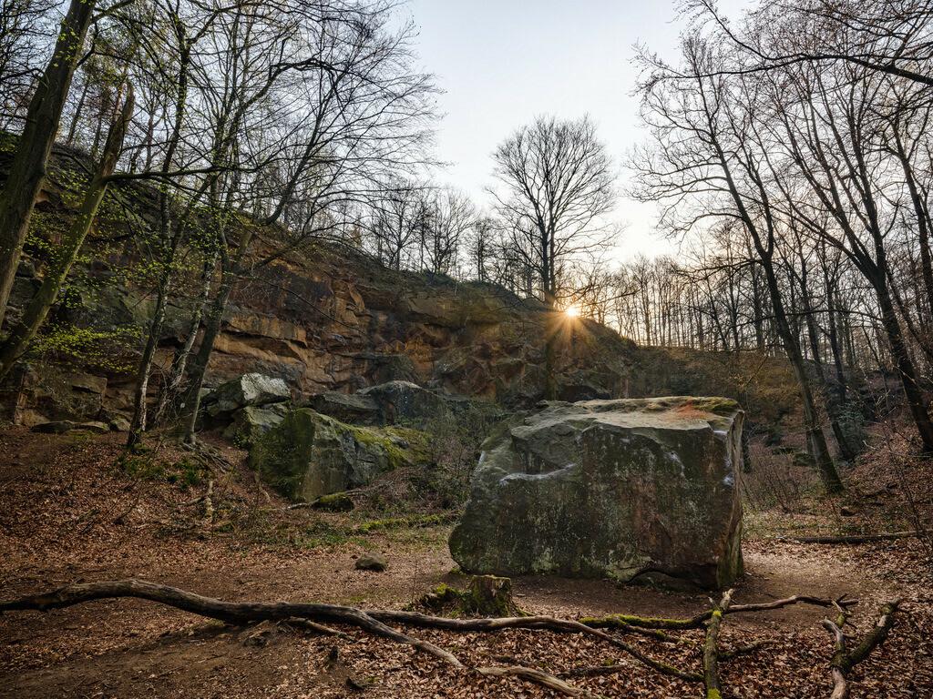Halleluja-Steinbruch im Teutoburger Wald | Halleluja-Steinbruch im Teutoburger Wald früh morgens im Frühling.