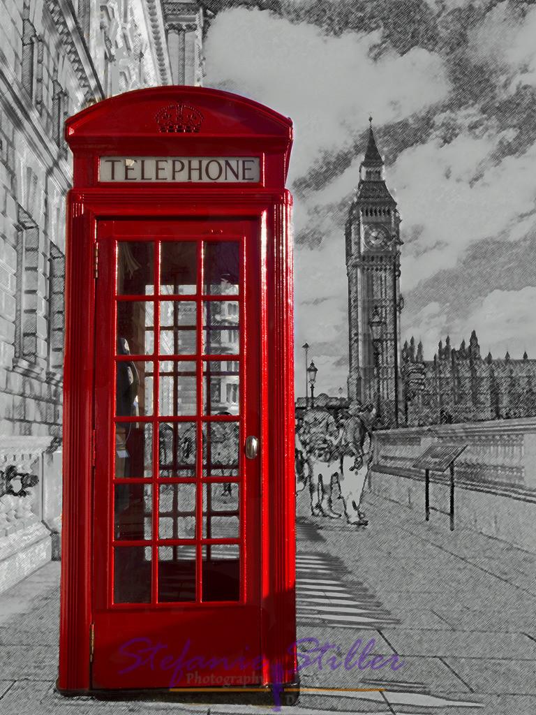 Telephon-Box of London | englische Telefonzelle vor Elisabeth Tower