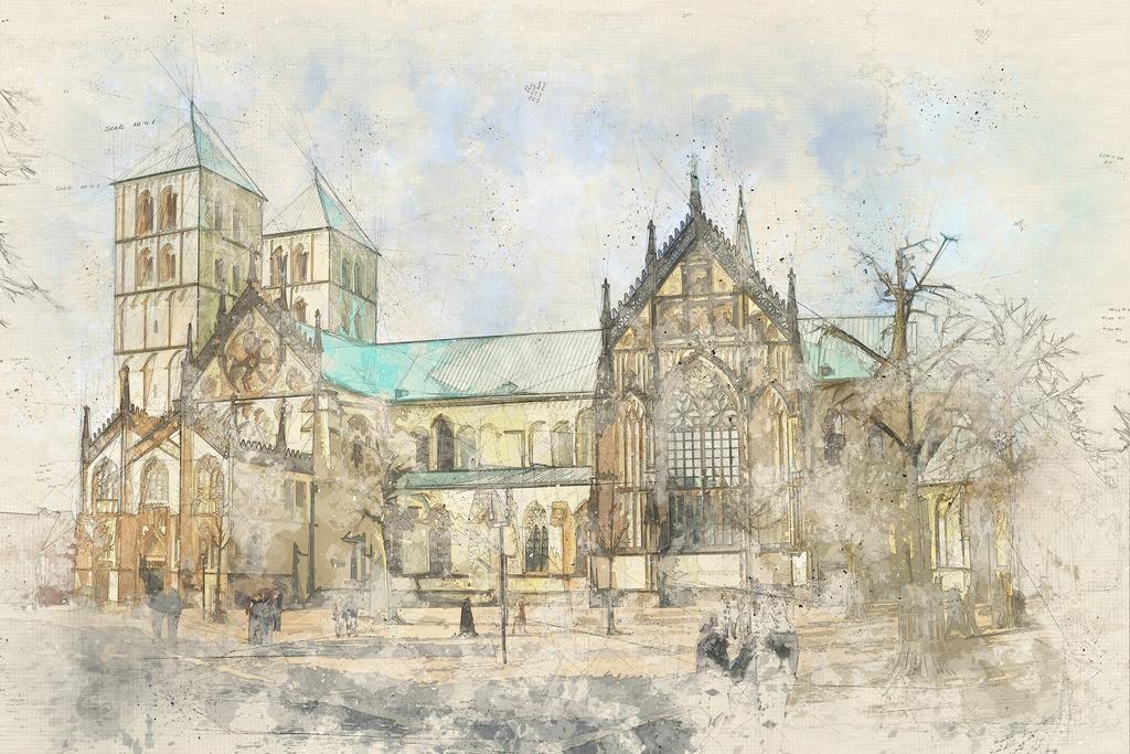 Münster - St. Paulus Dom mit Marktplatz | Münster - St. Paulus Dom mit Marktplatz