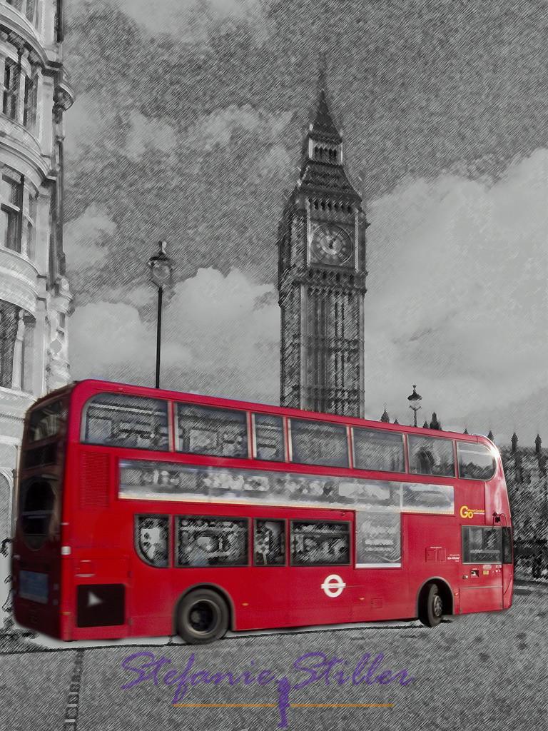 Bus in London | Londoner Bus vor Big Ben
