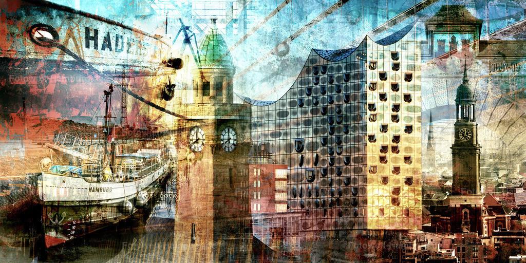 10191112 - Hamburg Collage 026 | Entdecken Sie unsere kunstvoll in Szene gesetzten modernen Hamburg Collagen.