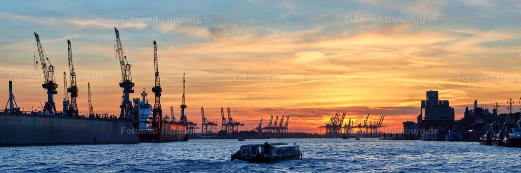 12014836 - Sonnenuntergang an den Landungsbrücken   Blick entlang der Elbe bei Sonnenuntergang