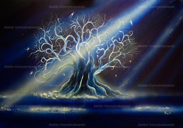 Blue Tree-3 | Phantastischer Realismus aus dem Atelier Conny Krakowski. Verkäuflich als Poster, Leinwanddruck und vieles mehr.