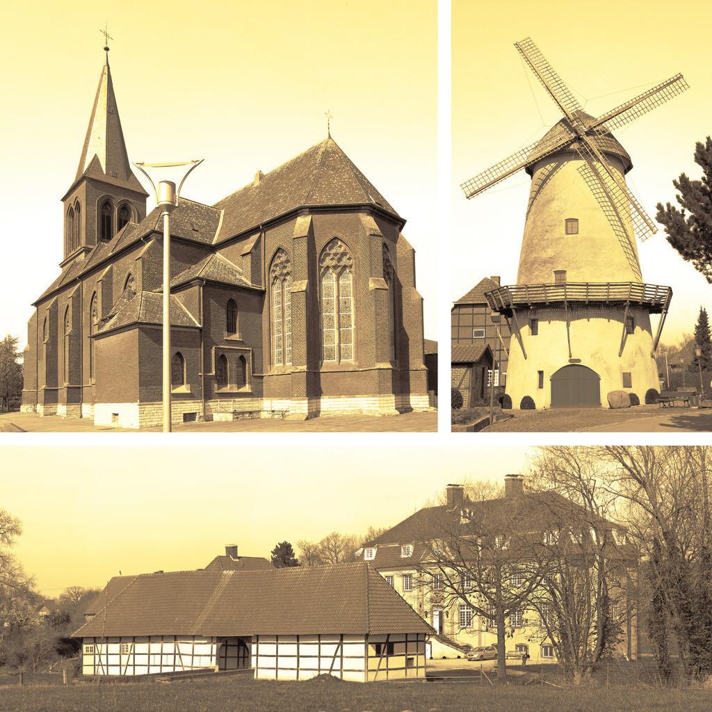 Collage von Westkirchener Sehenswürdigkeiten | Sehenswürdigkeiten des Golddorfes 1979 Westkirchen im Münsterland