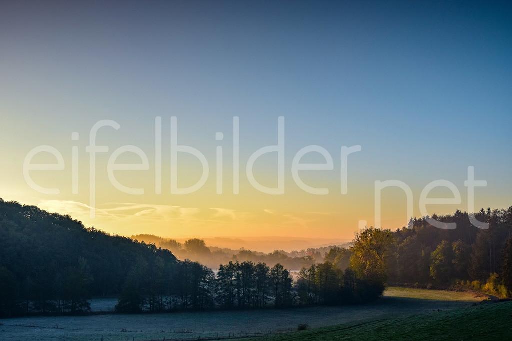 Goldene Stunde - Eifellandschaft im Morgenlicht | Zauberhafte Landschaft mit Frühnebel, fotografiert bei Strohn (Stromer Schweiz in der Vulkaneifel)