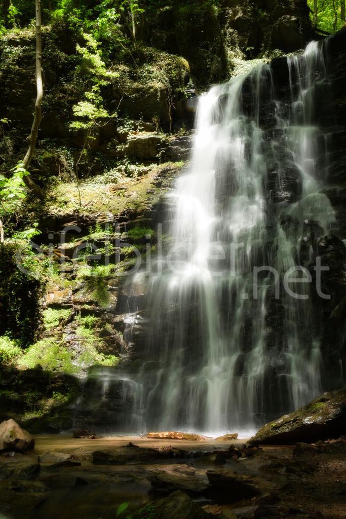 Zauberhafter Wasserfall im Wald | geheimnisvolle Stimmung am Klidinger Wasserfall - weich fließendes Wasser, zartes Frühlingsgrün, klares Wasser, Licht und Schatten lassen den Zauber des Waldes voll zur Geltung kommen