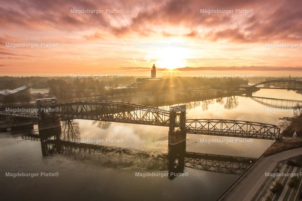 Luftbild Magdeburg Dom Hubbrücke Sonnenaufgang-0171