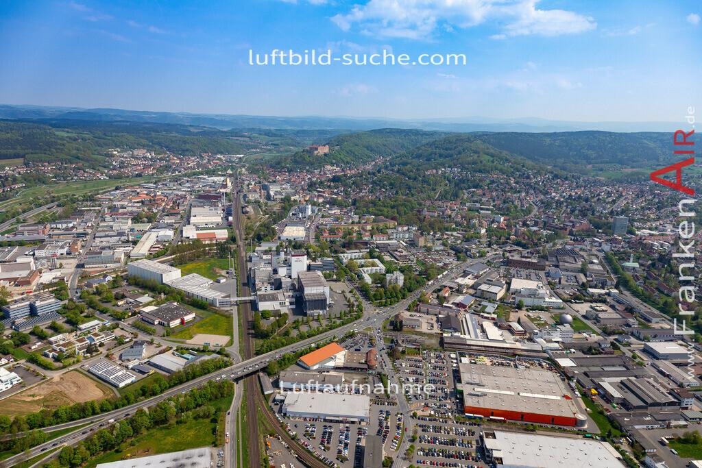 kulmbach-18-59   aktuelles Luftbild von  Kulmbach - Luftaufnahme wurde 2018 von https://frankenair.de mittels Flugzeug (keine Drohne) erstellt.