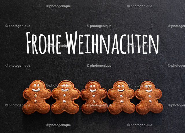 Weihnachtskarte fünf Lebkuchenmänner wünschen Frohe Weihnachten | Weihnachtskarte fünf Lebkuchenmänner wünschen Frohe Weihnachten