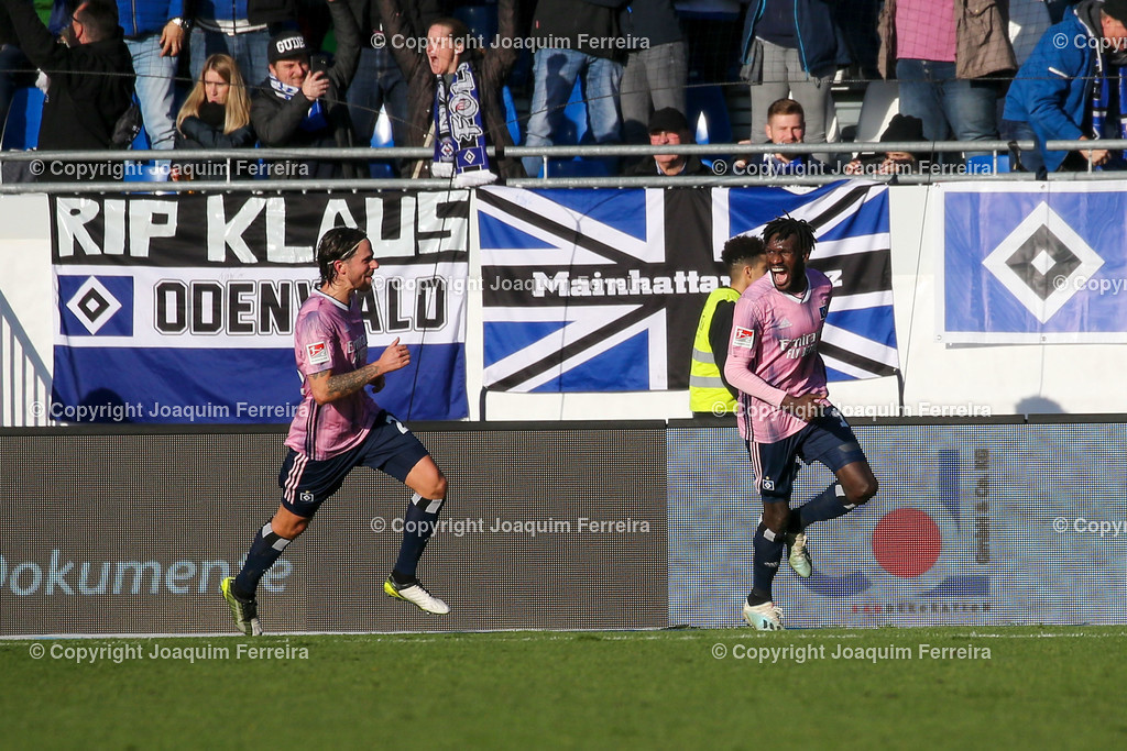 191221svdvshsv_0821 | 21.12.2019 Fussball 2.Bundesliga, SV Darmstadt 98-Hamburger SV emspor, despor  v.l.,  Martin Harnik (Hamburger SV) und Bakery Jatta (Hamburger SV) Torjubel, Goal celebration, celebrate the goal     (DFL/DFB REGULATIONS PROHIBIT ANY USE OF PHOTOGRAPHS as IMAGE SEQUENCES and/or QUASI-VIDEO)