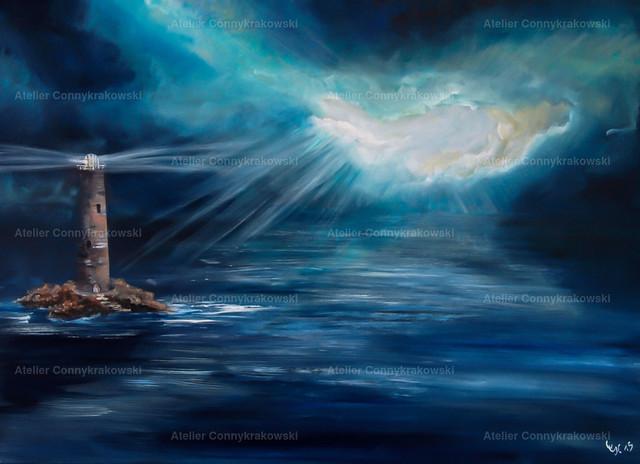 Leuchtturm C | Phantastischer Realismus aus dem Atelier Conny Krakowski. Verkäuflich als Poster, Leinwanddruck und vieles mehr.