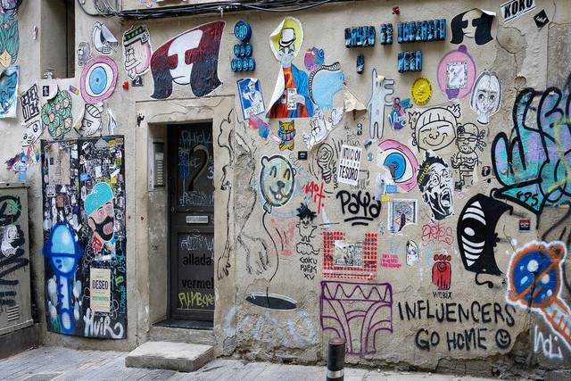 Graffiti übersähte Wand | ESP, Spanien, Barcelona, 18.12.2018, Graffiti übersähte Wand [2018 Jahr Christoph Hermann]