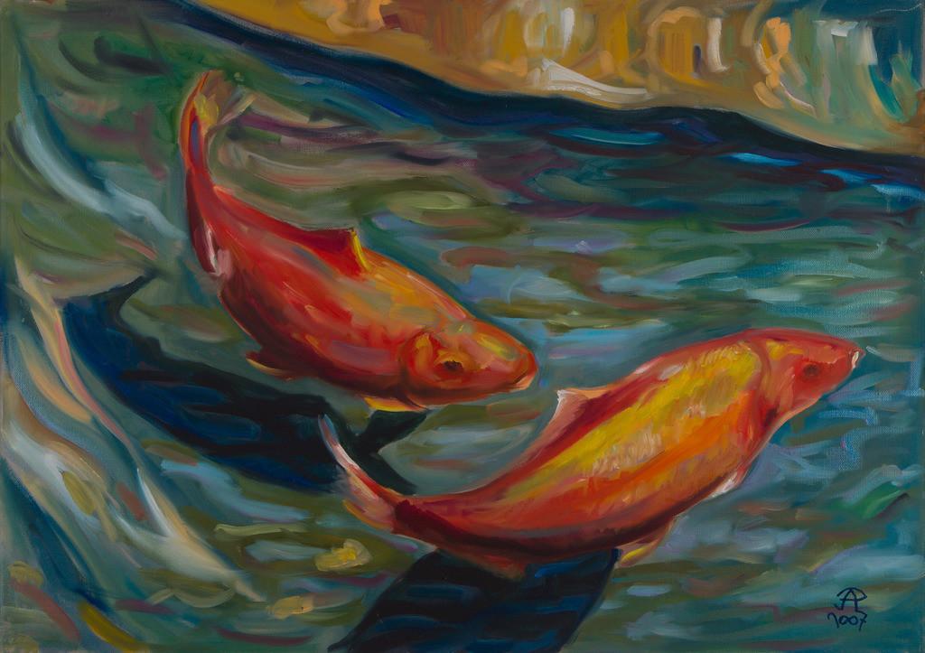 Goldfische im Gartenteich | Originalformat: 50x70 - Produktionsjahr: 2007