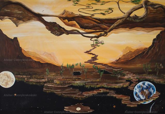 Verkehrte Welt C | Phantastischer Realismus aus dem Atelier Conny Krakowski. Verkäuflich als Poster, Leinwanddruck und vieles mehr.