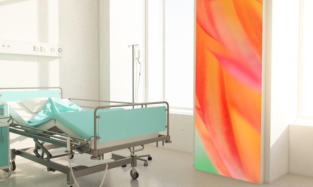 Abstraktes Blütenmotiv für ein Patientenzimmer in einer Klinik | Anwendungsbeispiel für ein Patientenzimmer in einerm Krankenhaus. Hier bietet sich als Material eine Fototapete an. Sie finden dieses Motiv in der Galerie Farben und Formen - Farbstimmungen