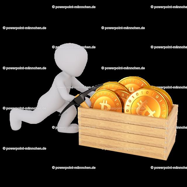 man pushing the wooden box with bitcoin | Quelle: https://3dman.eu   Jetzt 250 Bilder kostenlos sichern
