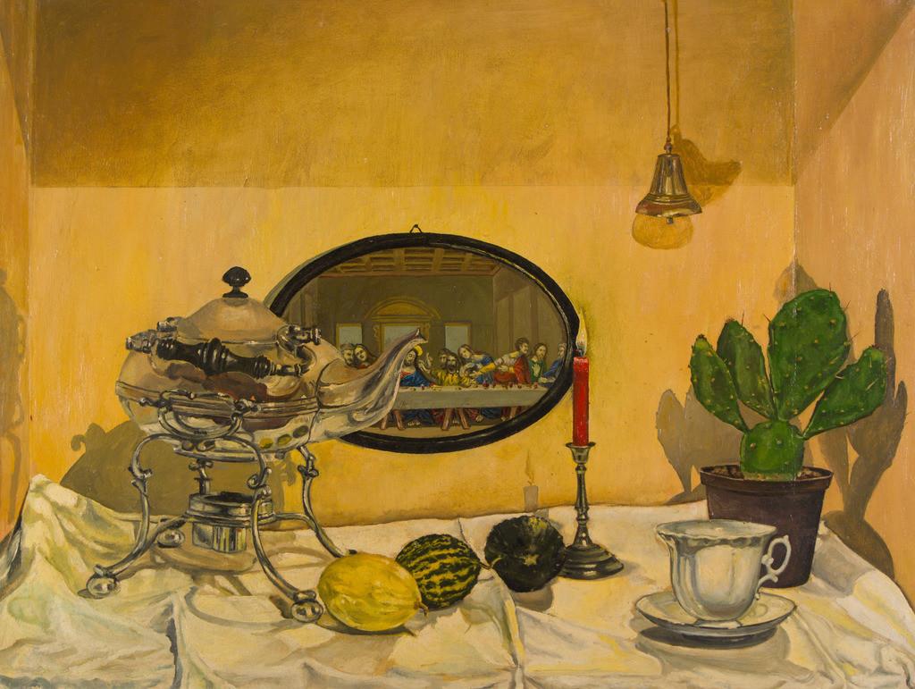 Stillleben mit silberner Teekanne | Originalformat: 50x70cm  -  Produktionsjahr: 1988