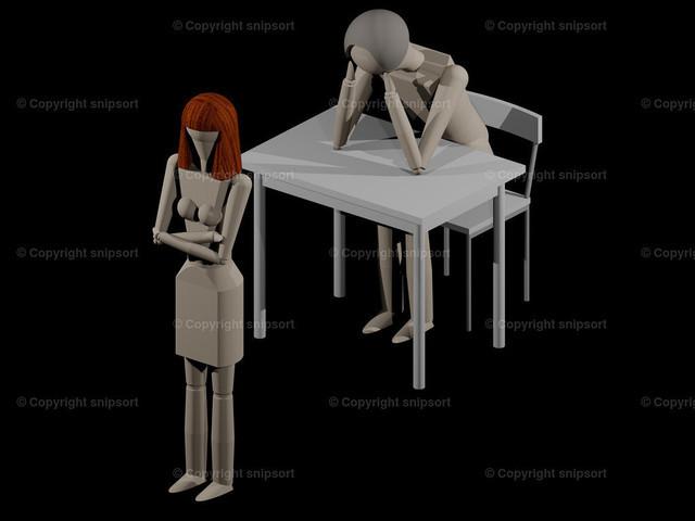 Frau kehrt dem Mann den Rücken zu (3D-Rendering) | Eine Frau kehrt dem Mann den Rücken zu, weil sie sich trennen will (3D-Rendering mit Holzpupen)