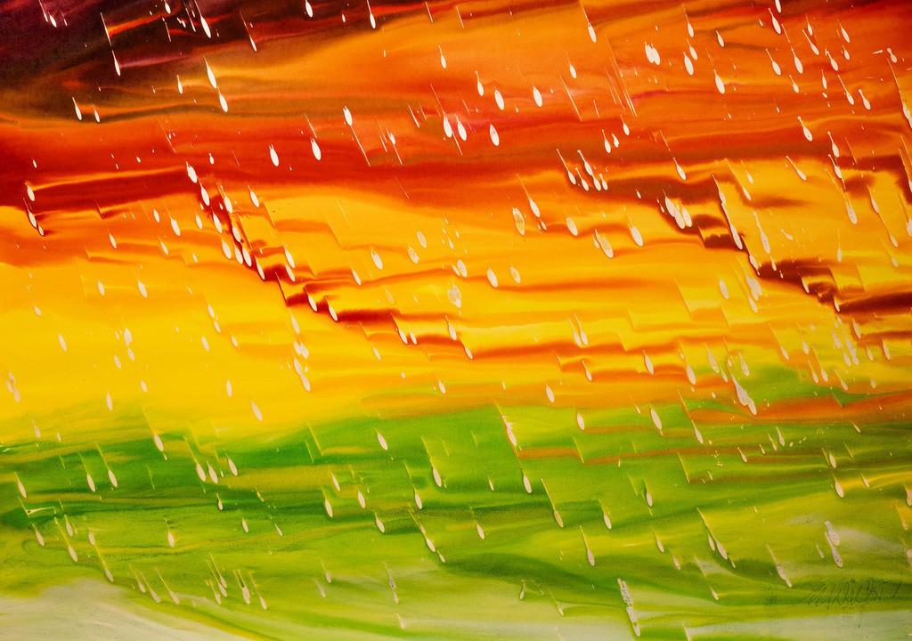 Endlich Regen 2 | Dieser Sommer war trocken, die Bäume schrien und  das Gras winselte  um Wasser vom Himmel. Endlich kam der Regen.  Mit dem Lötkolben geschmolzene Kerzen auf Papier, Holzbeizen, Wasser und meine selbst  gebaute kipp- und drehbare Staffelei um alle Fleiß-Winkel und Geschwindigkeiten zu erreichen. Sie das making of in meinem Blog:  www.kunst2day.de
