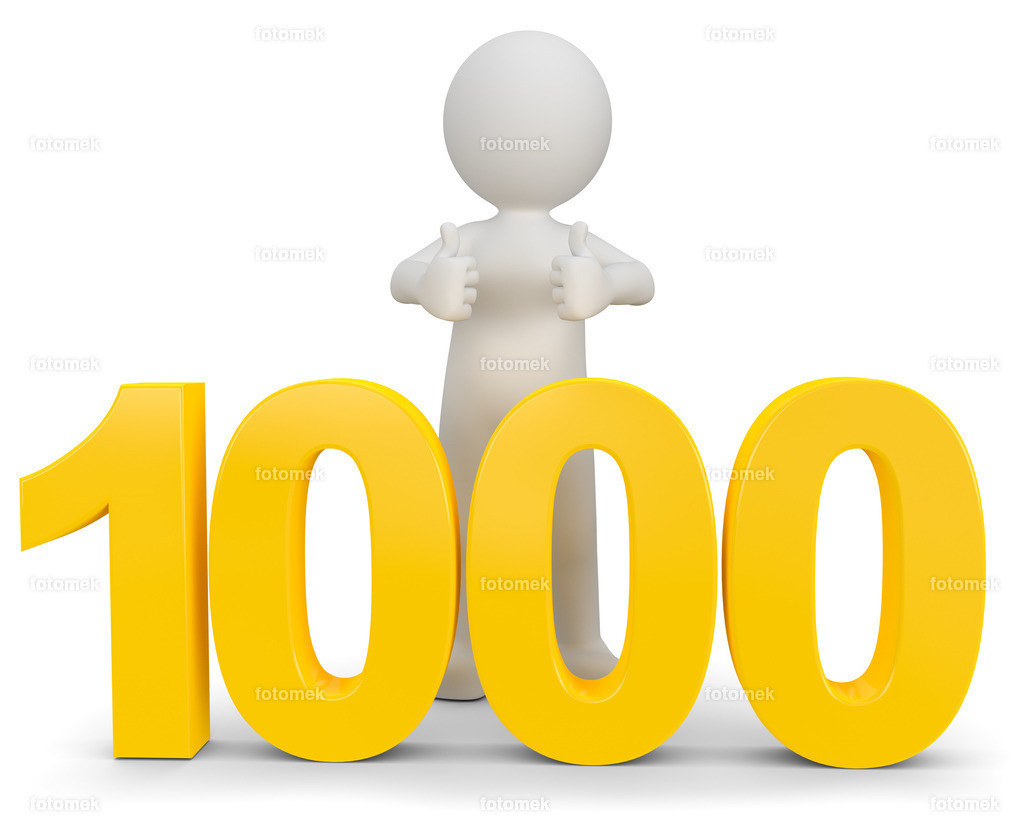 weisses 3d Männchen mit der Zahl 1000   3d Männchen lernt den Wert von 1000 Euro kennen
