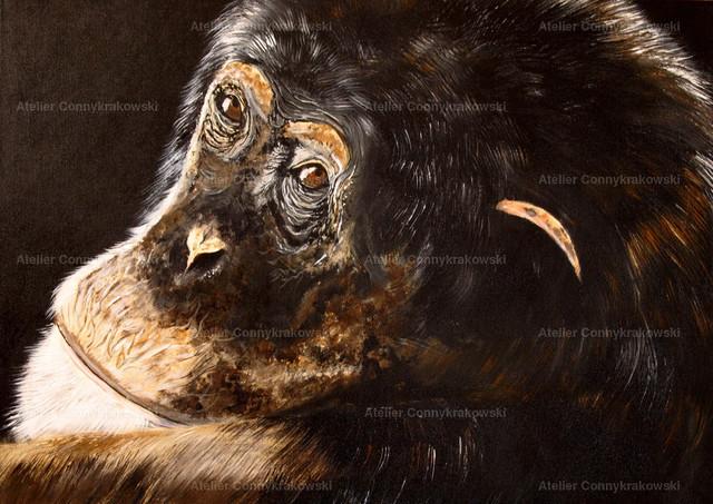 Schimpanse 4000x300 | Phantastischer Realismus aus dem Atelier Conny Krakowski. Verkäuflich als Poster, Leinwanddruck und vieles mehr.