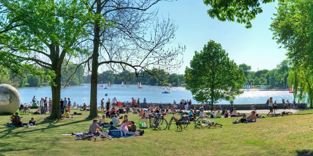Münsteraner Aasee-Wiesen im Sommer | Junge Leute machen Picknik im Sommer am Aasee auf den Aasee-Wiesen in Münster mit viel grüner Wiese, Bäumen und Segelboote auf dem Wasser