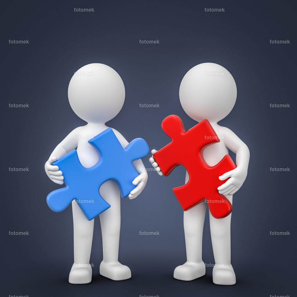 3d Männchen Puzzle Zusammenarbeit